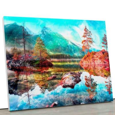 tableau lac et montagne paysage lac eau bleu nature montagne pop art