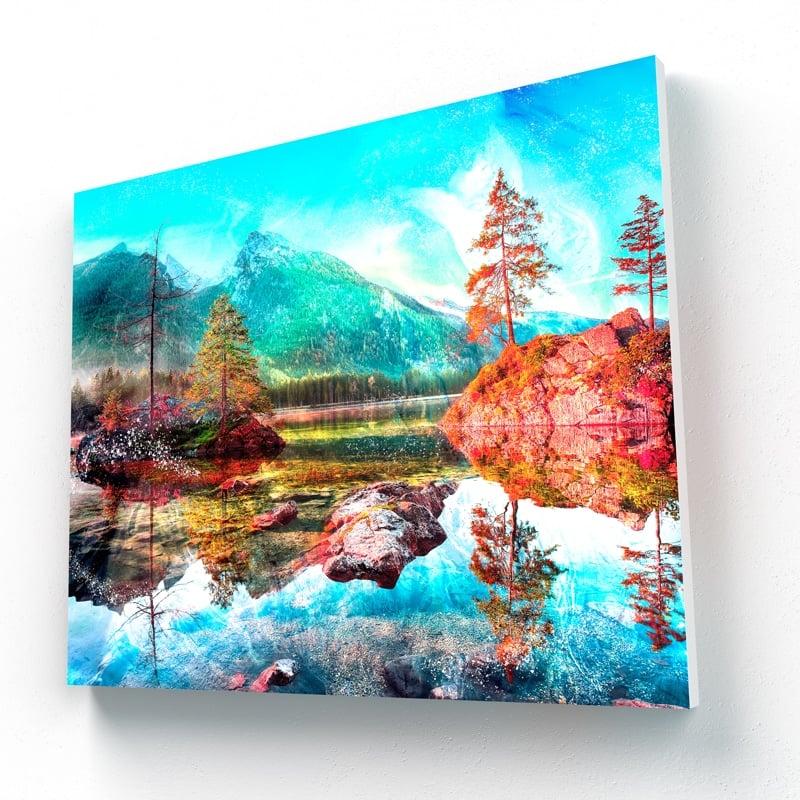 tableau foret et lac montagne
