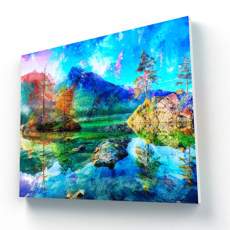 tableau lac nature paysage rocher montagne