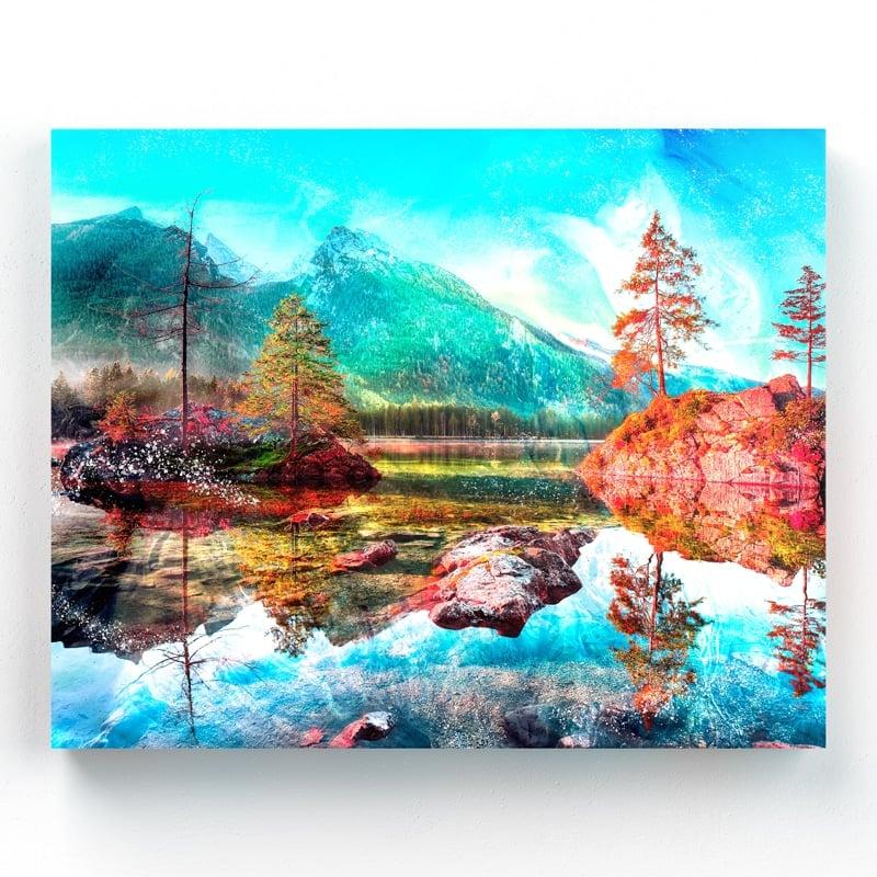 tableau rocher lac et montagne