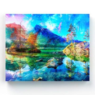 tableau nature et paysage montagne et lac rocher