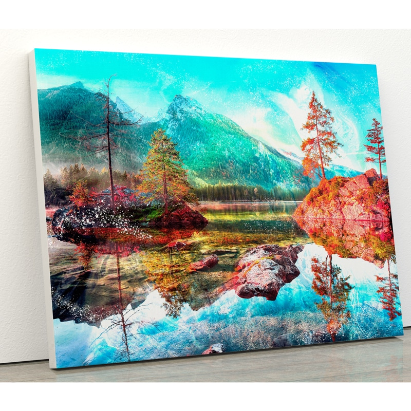tableau montagne et lac