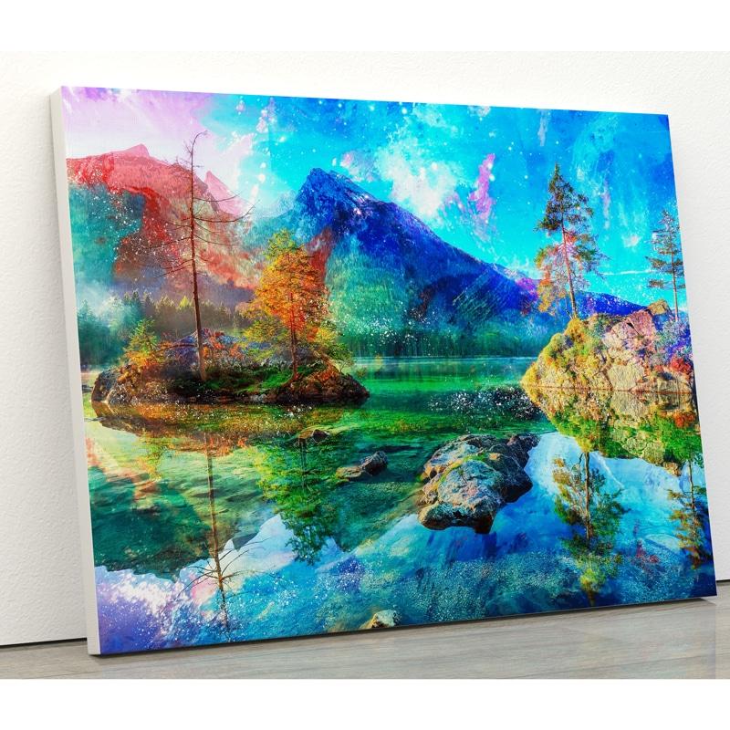 tableau lac et montagne