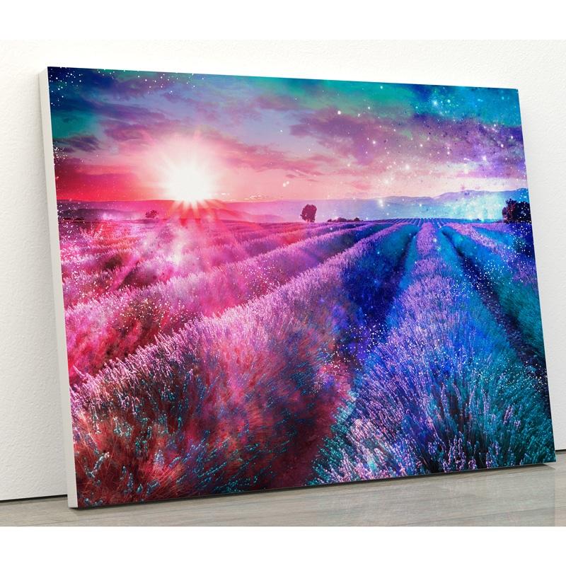 tableau champs nature lavande soleil nuage