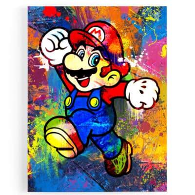 tableau-mario-geek-retro-gaming-icon-luigi-super-nintendo-mario-popart-tableau-geek