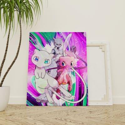 tableau mewtwo pokemon pikachu sacha decoration cadeau geek pokemon mewtwo
