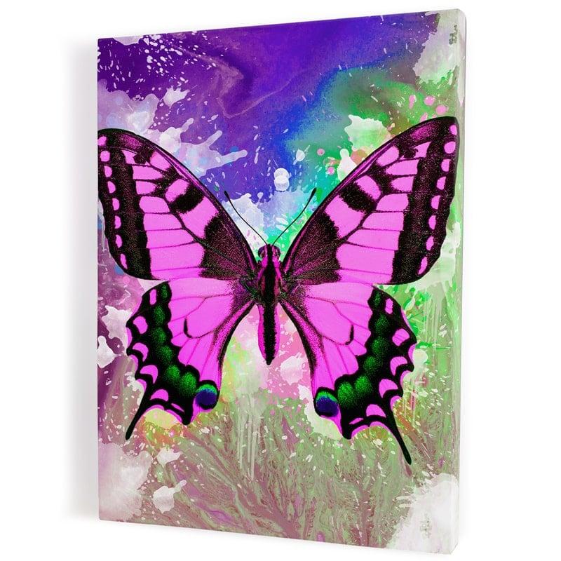 tableau-papillon-coloré-popart-multicolore-rose-vert-blanc-bleu