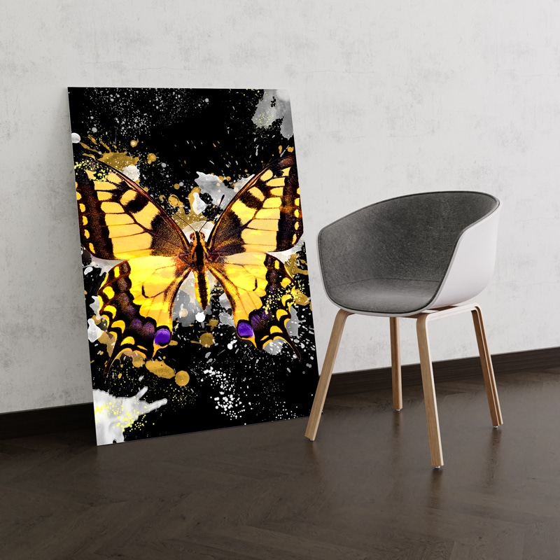 tableau papillon multicolore