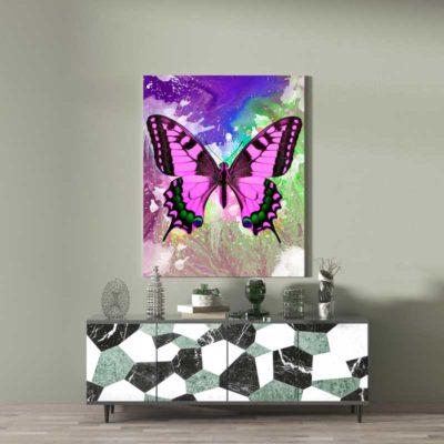 tableau papillon pop art coloré multicolore
