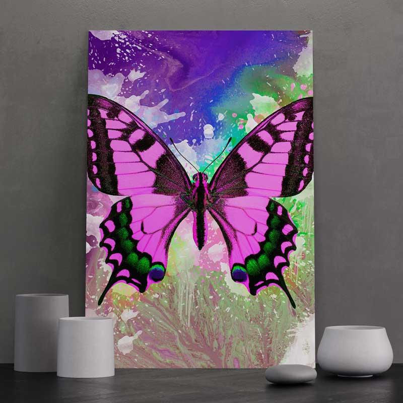 tableau papillon pop art multicolore