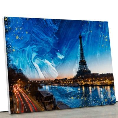 tableau paris france seine deco toile cadre poster france paris bleu blanc rouge