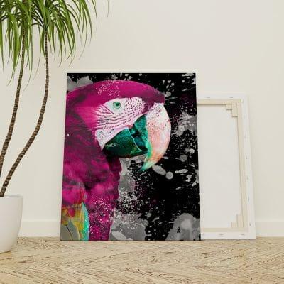 tableau perroquet multicolore