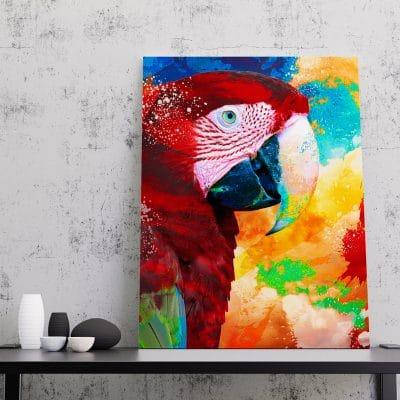 tableau perroquet coloré pop art