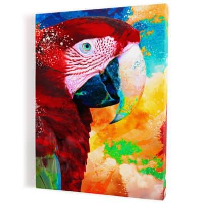 tableau-perroquet-multicolore-rouge-bleu-jaune-vert-tableau-animaux-popart-coloré
