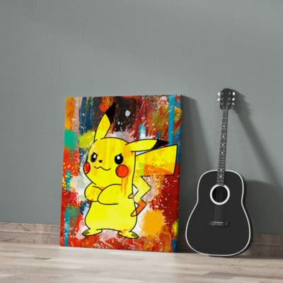 tableau pokemon pikachu street art geek pikachu decoration murale tableau pikachu