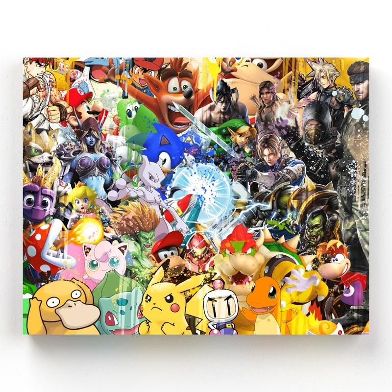 tableau-retro-gaming-jeux-video-super-heros-geek-mario-yoshi-tekken-sacha-mewtwo-sonic-resident-evil-zelda-tom-raider-tortank-world-of-warcraft-retro-gaming-deco-geek-11