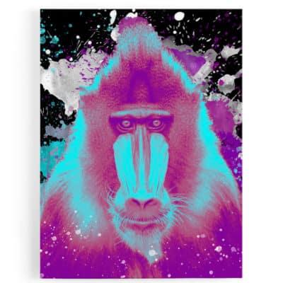 tableau-singe-gorille-macaque-tableau-popart-coloré-tableau-animaux-singe