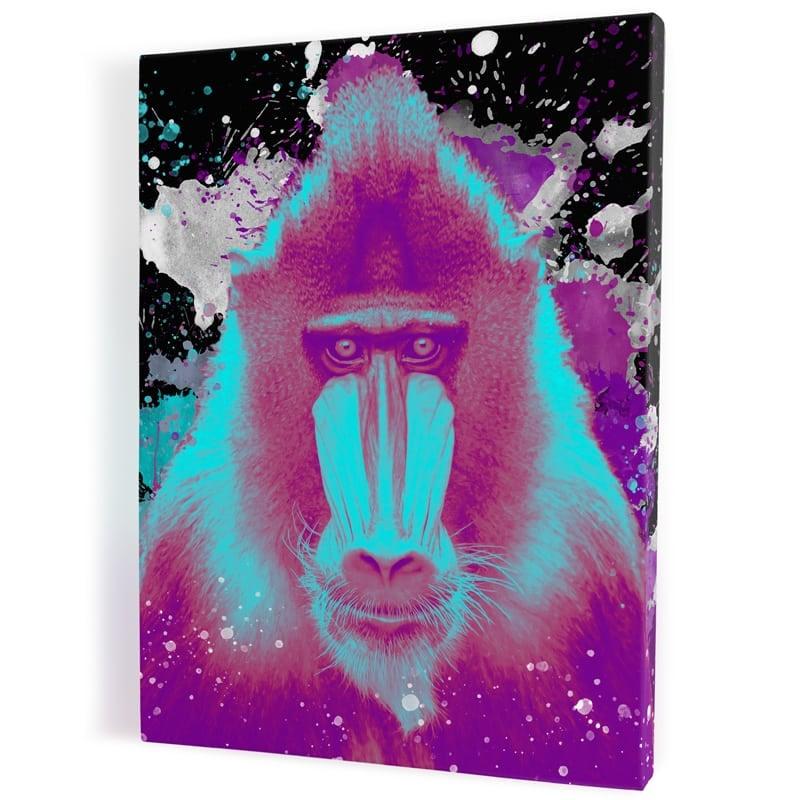 tableau-singe-gorille-macaque-tableau-popart-coloré-tableau-animaux