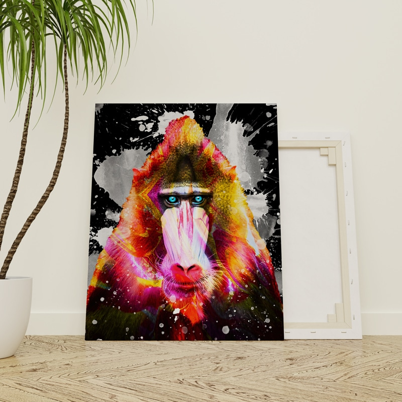 tableau macaque singe pop art