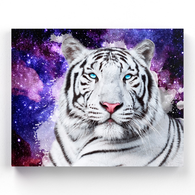 tableau tigre blanc pop art art deco toile cadre poster tigre blanc