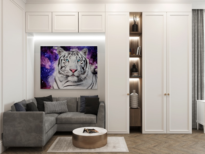 tigre blanc pop art deco animaux poster toile