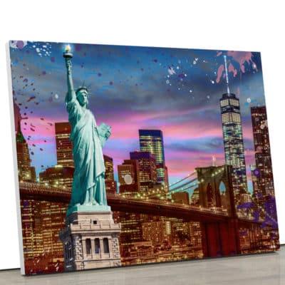 tableau-toile-poster-newyork-ny-statue-de-la-liberté-decoration-murale-tour-world-water-center