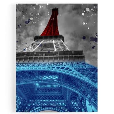 tableau-toile-poster-paris-tour-eiffel-popart-coloré-france-bleu-blanc-rouge