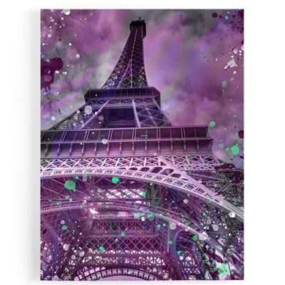 tableau-toile-poster-paris-tour-eiffel-popart-rose-vert-blanc-coloré-france-01
