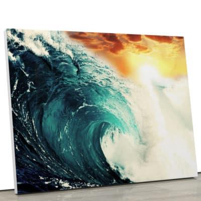 tableau ocean vague mer avec couché de soleil