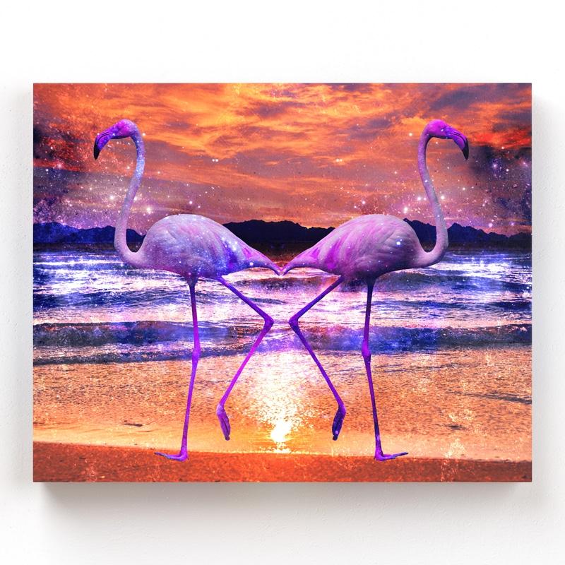 tableau flamant rose pop art coloré multicolore art deco oiseau cadre toile poster flamant rose