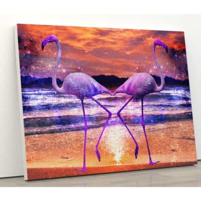 tableau flamant rose deco oiseau