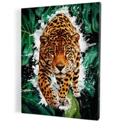 tableau jaguar tigre animaux pop art
