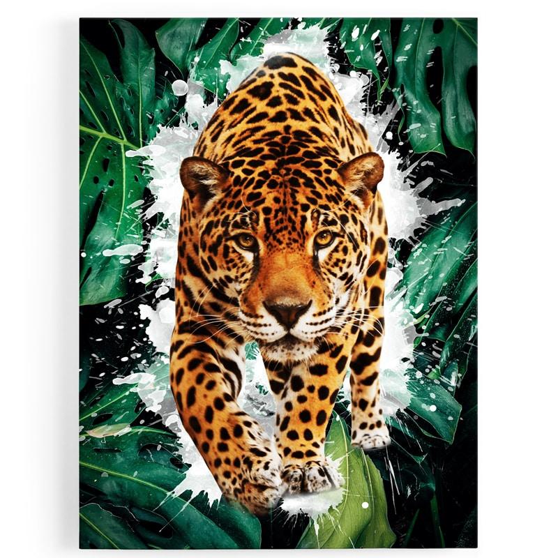 tableau jaguar guepard félin animaux pop art