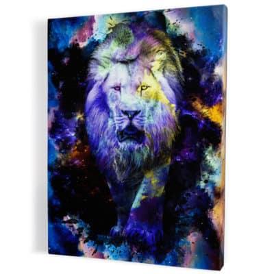 tableau lion coloré couleur multicolore pop art