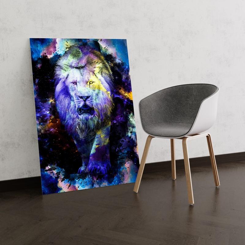 tableau lion multicolore