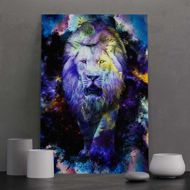 tableau-lion-animaux pop art