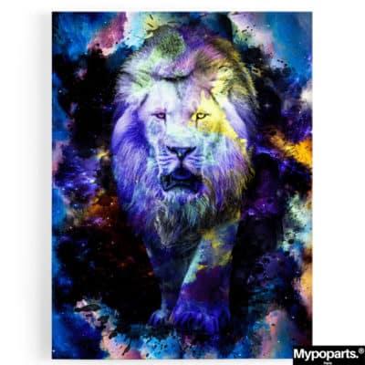 tableau lion animaux coloré pop art couleur multicolore