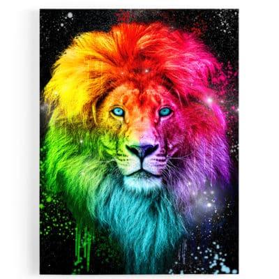 tableau lion pop art coloré multicolore animaux