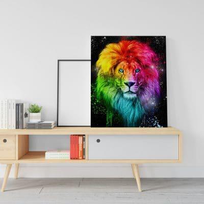 tableau lion street art coloré
