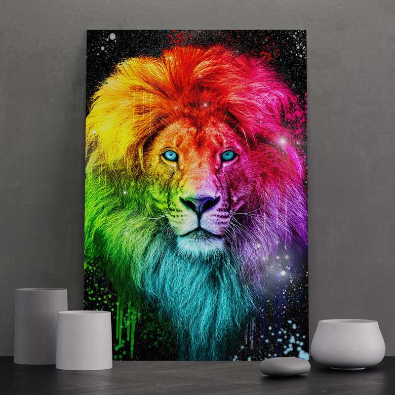 tableau lion pop art coloré multicolore decoration lion poster cadre toile lion