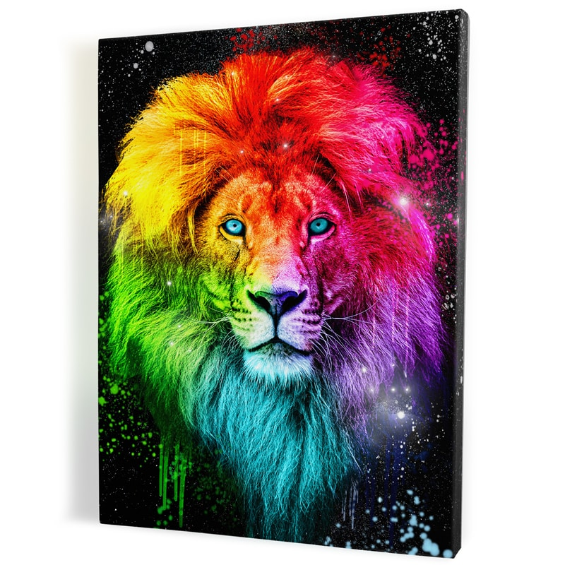 tableau lion multicolore pop art coloré