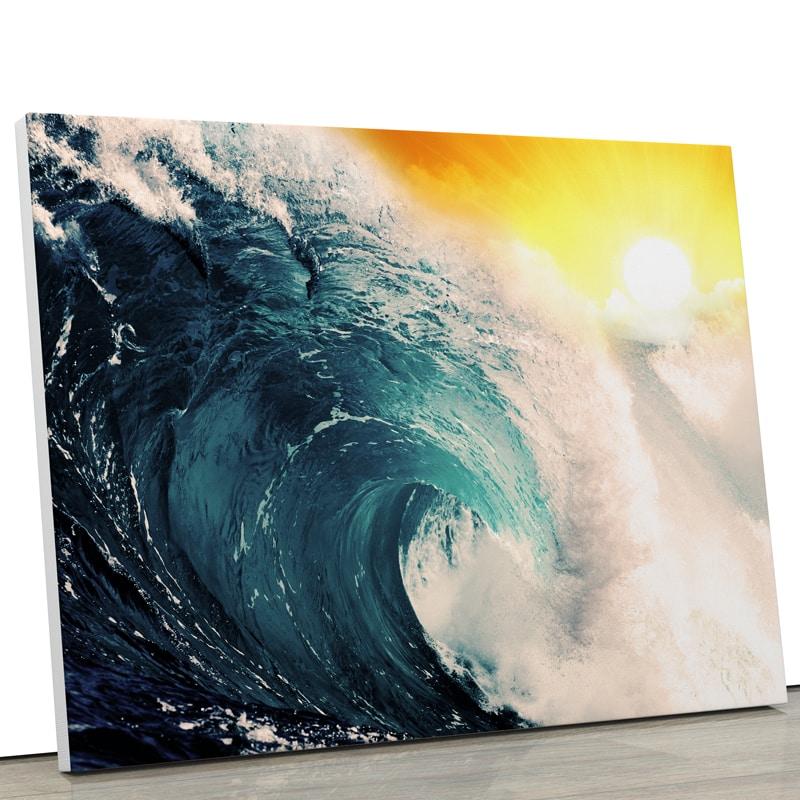 tableau vague mer ocean couché de soleil plage