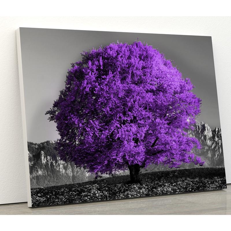 tableau arbre violet nature avec fond noir et blanc nature et paysage tableau toile poster arbre coloré pop art