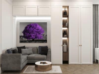tableau sur toile arbre violet coloré pop art