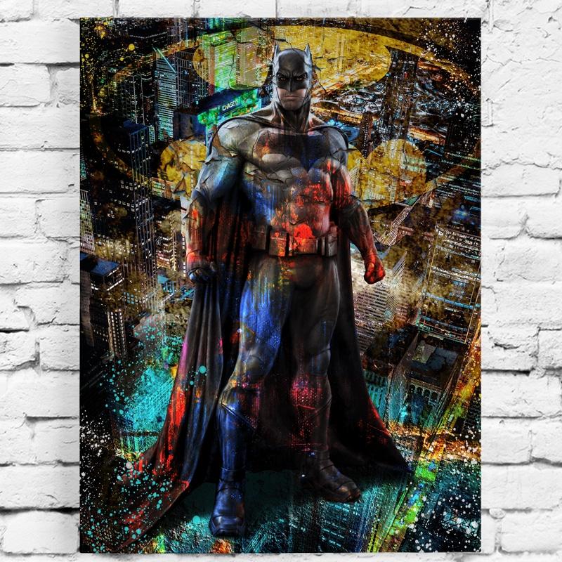 tableau batman pop art deco murale cadeau geek batman art poster toile deco cadre