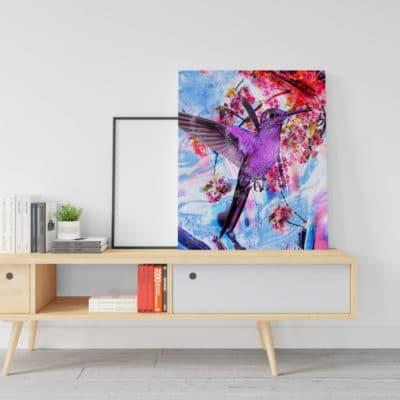 tableau oiseau colibri animaux coloré