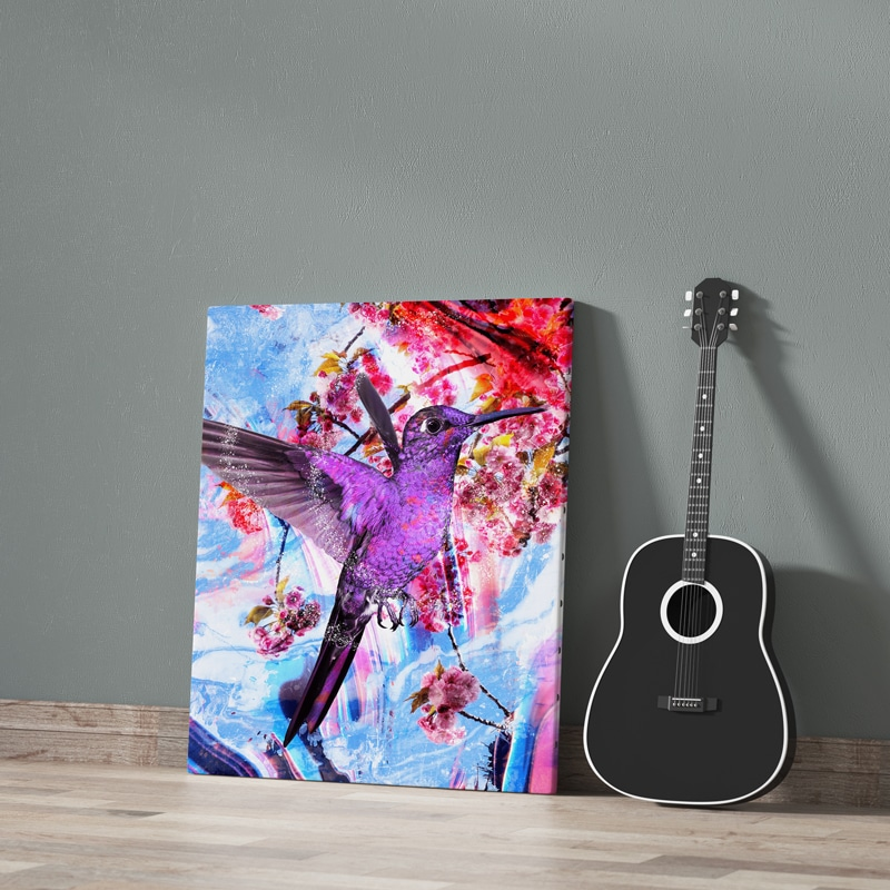 tableau colibri coloré