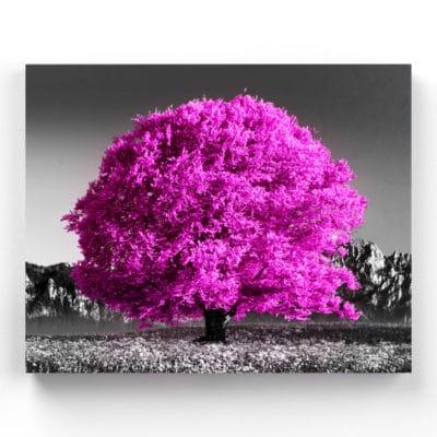 tableau arbre rose decoration toile arbre rose
