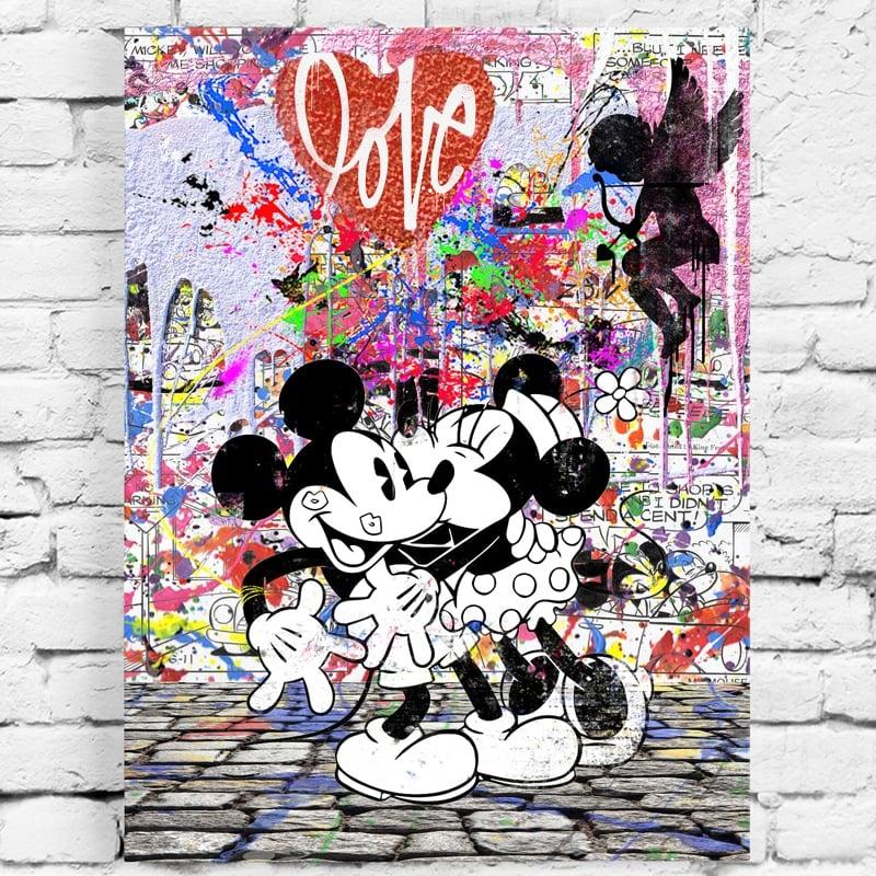 tableau mickey et minnie street art pop art